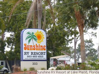 Sunshine RV Resort Sign at Entrance